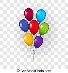 Balloons 3D bunch set, thread, isolated white transparent background. Color glossy flying baloon, ribbon, birthday celebrate, surprise. Helium ballon gift. Realistic love design Vector illustration