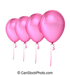 Balloons 4 pink party birthday decoration, four helium balloon row