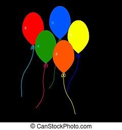 balloons., 5, カラフルである