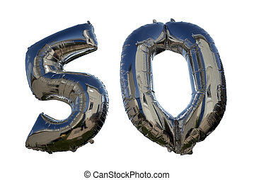balloons against white for a 50th