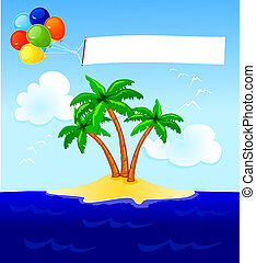 Balloons and banner - Balloons and blank banner over the...