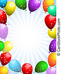 Background of balloons and confetti