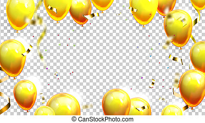 Balloons And Confetti Decoration Banner