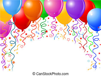 Balloons and confetti - Background of balloons, confetti and...