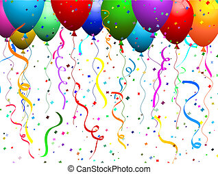 Balloons and confetti - Falling confetti background with...