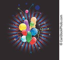 Balloons and festive ribbon