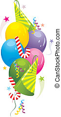 Balloons and festive tinsel - Colorful balloons and festive...
