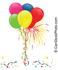 Colorful balloons, fireworks and confetti for parties and celebrations. Isolated over white background. Vector file saved as EPS AI 8, no effects, easy printing.