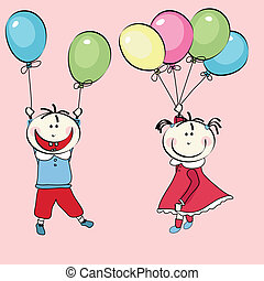 balloons and little girl, boy