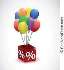 balloons and percentage cube illustration design over a...