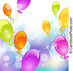 Balloons and stars - Background with balloons and stars