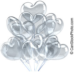 Balloons as hearts translucent grey