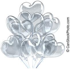 Balloons as hearts translucent grey