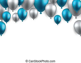 balloons., bakgrund, fira, välva