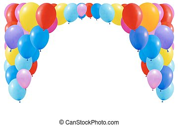 balloons., bianco, set, colorito, isolato