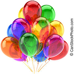 Balloons birthday party celebrate decoration multicolor translucent. Happy joy fun abstract. Holiday anniversary celebration greeting concept. Detailed CG image 3d render. Isolated on white background