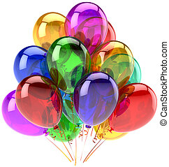 Balloons party happy birthday decoration rainbow multicolor translucent. Joy fun abstract. Holiday anniversary retirement graduation celebrate concept. Detailed 3d render. Isolated on white background