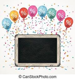 Balloons Blackboard Confetti Percents