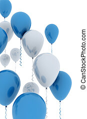 Balloons - blue and white balloons isolated on white...
