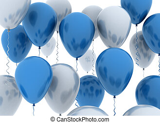 Balloons  - Blue and white party balloons