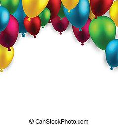 balloons., bolthajtás, ünnepel, háttér