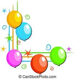 Party balloons corner border design.