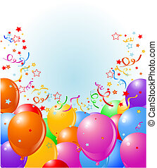Balloons border - Vector illustration of the border of...