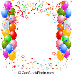 Vector illustration of the border of multicolored balloons and confetti