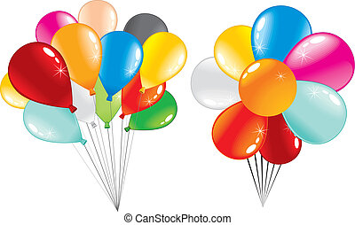 Balloons Bunch - Two bunch of shiny party balloons -isolated...