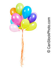 Balloons - Bunch of multicolored balloons isolated on white