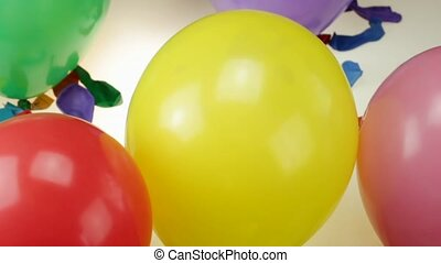 Balloons bursts - colorful  balloons bursts, over white