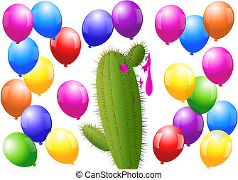 Balloons Cactus - Menacing cactus surrounded by balloons,...