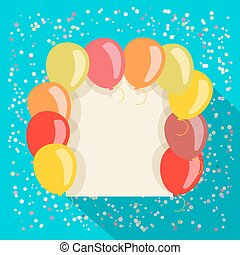 balloons card in retro style
