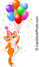 Cute Kitten with Party Hat Hanging from a Balloons