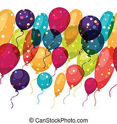 balloons., coloreado, patrón, seamless, feriado, brillante
