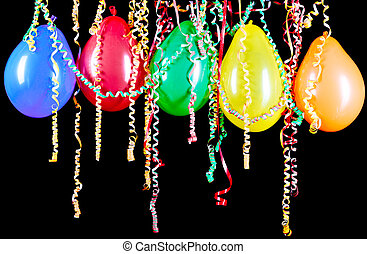Colorful balloons on a black background
