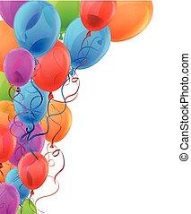 balloons., colorito, fondo, celebrare
