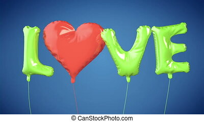 Balloons create LOVE word. Valentine - Animation of Balloons...