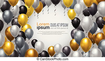 Balloons Decoration For Party, Celebration Or Festival Event Background With Copy Space