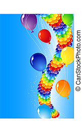 balloons - vector illustration - balloons in the sky