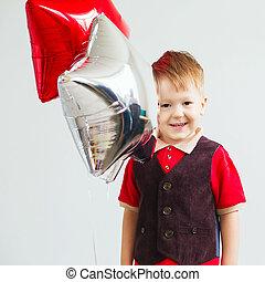 balloons., estrela, crianças, segurando, dado forma