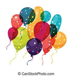 balloons., färgad fond, helgdag, glänsande, firande