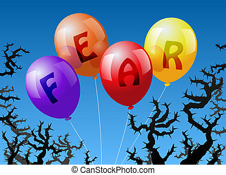 Balloons Fear - Four balloons, which are labeled with the...