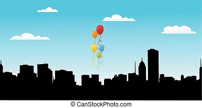 Balloons for party vector with city view