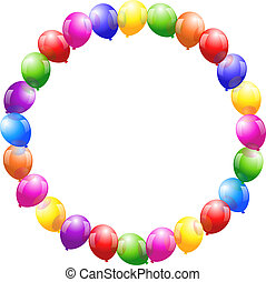 Colorful glossy balloons that form a circular frame.
