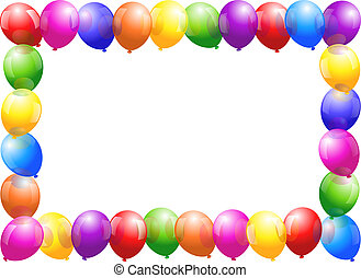 Colorful glossy balloons that form a frame.