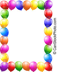 Balloons Frame - portrait format - Colorful glossy balloons...
