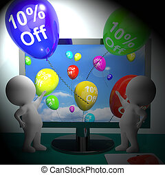 Balloons From Computer Showing Sale 3d Rendering