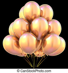 Balloons golden happy birthday party decoration yellow on...