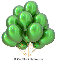 Balloons green happy birthday party decoration glossy